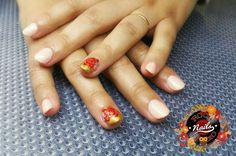 Acrylic nails red roses nude
