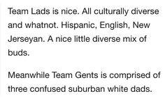 Team Lads vs Team Gents