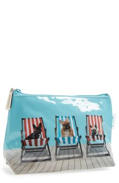 Catseye London 'Small Deck Chair Dogs' Cosmetics Bag
