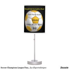 Soccer Champions League Final In Yellow Desk Lamp Custom black and yellow lamp. With a soccer yellow and white football . With a black background. you have a place for your Name of player's, Number of jersey, Name of team, and the Year on it. yellow and black desk lamp. Background color can be change to team color. The yellow and white text can be changed as well. This light is great for a gift. Delete any or all text. IMPORTANT Personalize each soccer night light, ONE at a Time, ADD that…