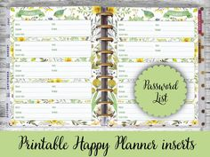 Happy Planner Printable Pages Password Book di EireenStickers