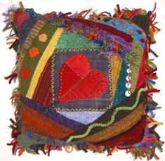 crazy quilt pillow - hooked & appliqued textile heart art folk style quilt tapestry