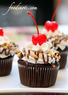 FOOD SNOTS: HOT FUDGE SUNDAE CUPCAKES The recipe is from Foodsnots.com and I was stopped at first from following the link but ventured through and it was safe.