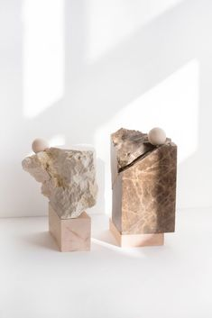 Designers are inspired by totems in order to create everyday objects and furniture with essential forms and the protective function... | Carla Cascales Alimbau | mineral sculptures | mineral totems | marble totems | 2018 totem trend | sculptural objects | sculptural art | sculptural totems | organic art | 2018 design trends | marble artist | sacred art | product design | mystical sculptures | mystical design | mystical objects