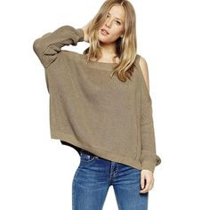 Women Winter Sweaters and Pullovers Long Sleeve Knitted Off the Shoulder Loose Sweater Women