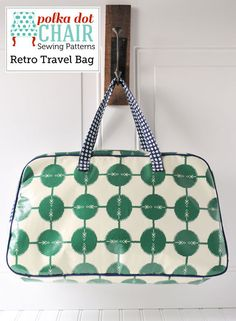 """Make yourself a great travel bag that is perfect to stow your stuff in when you're on the go! It is delivered to you via instant download, in PDF format. The pattern is written using FULL color photos of each step. Includes Printable Pattern PiecesIt measures approximately 20"""" wide by 11"""" tall by 6"""" wide.It can be made from Laminate Fabric, Quilting Weight Cotton, Oil Cloth or Home Decor Weight Cotton.Included in the pattern are two handle styles, one that uses purch..."""