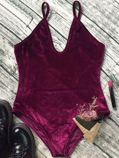 $11.99 Plunging Neck Slip Backless Velvet Bodysuit WINE RED: Rompers | ZAFUL