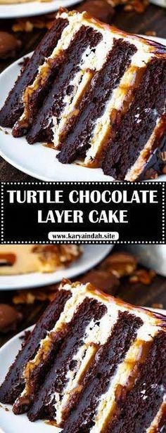 This Turtle Chocolate Layer Cake starts with rich, decadent and moist chocolate cake layers that are filled with a caramel pecan sauce a. Chocolate Cheesecake, Chocolate Desserts, Chocolate Cake, Chocolate Coffee, Brownies, Cake Recipes, Dessert Recipes, Raspberry Bars, Chocolate Turtles