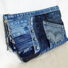 Recycled Old Jeans & Hand-dyed Indigo Fabric Clutch Bag by kazuewest