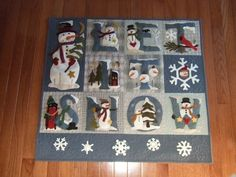 Glynis Ballards version of Let it snowcr Aplique Quilts, Snowman Quilt, Wool Applique Patterns, Wool Quilts, Christmas Applique, Winter Quilts, Quilt Labels, Sampler Quilts, Christmas Coloring Pages