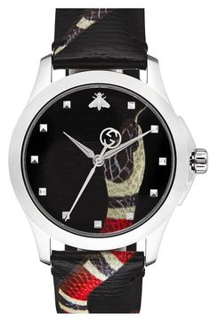 6326a3ae3f3 GUCCI G- Timeless Textured DIAL with Snake Motif Unisex Watch YA1264080