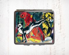 Cats Art Cigarette Case - Expressionist Art Metal Cigarette Case - Cigarette Case Wallet - Cigarette Box - Cigarette Holder by RegalosOnline on Etsy