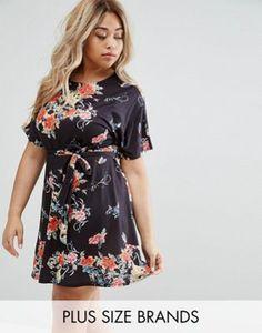 8a5515c8647 Club L Plus Floral Skater Dress Plus Size Skater Dress