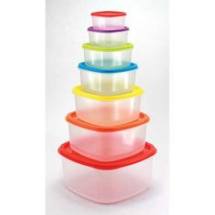 Storage Containers Set of 14 Available @ DebonairHomeDecor.com Rainbow Food, Storage Sets, Pot Rack, Happy House, Plastic Storage, Food Storage Containers, Types Of Food, Food To Make, Tableware