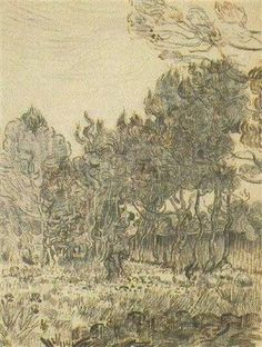 Vincent van Gogh: Pine Trees near the Wall of the Asylum Saint-Rémy: November, 1889 (London, Tate Gallery) Vincent Van Gogh, Tree Wallpaper Computer, Desenhos Van Gogh, Van Gogh Drawings, Pencil Drawings, Statues, Pine Tree Painting, Tate Gallery, Art Van