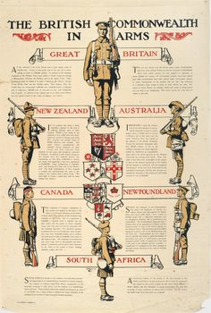 """"""" World War I Recruitment Poster """" This poster depicts New Zealand, Australia, Canada, Newfoundland, and South Africa supporting Britain in arms. These British Dominions would eventually contribute more than million service personnel to the. World War One, First World, Ww2 Posters, History Posters, Historia Universal, Posters Vintage, Canadian History, British Army, British Soldier"""
