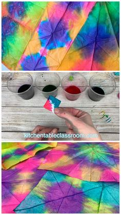 this easy tie dye method using food coloring and tissue paper to create brilliant, unique designs.Try this easy tie dye method using food coloring and tissue paper to create brilliant, unique designs. Preschool Crafts, Diy Crafts For Kids, Projects For Kids, Fun Crafts, Kids Diy, Decor Crafts, Creative Crafts, Toddler Summer Crafts, Science Crafts For Kids
