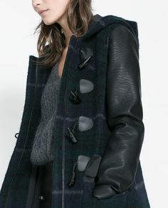 Image 5 of DUFFLE COAT WITH HOOD AND FAUX LEATHER SLEEVES from Zara