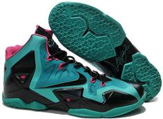 http://www.asneakers4u.com LeBron James XI Men Shoes in Peacock Green and Pink