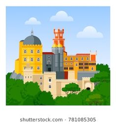 The Pena Palace (Palacio Nacional da Pena). Travel to Portugal. Lisbon Tram, Lisbon City, Skyline Silhouette, Silhouette Vector, Anastasia, World Famous Places, Portugal Country, Welcome Poster, City Vector