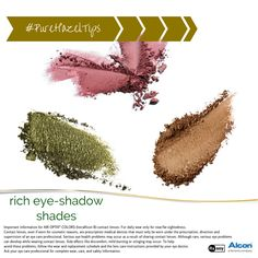 You can play up different tones from your AIR OPTIX® COLORS contact lenses in Pure Hazel with different eye shadow shades. Bring out the green tones with an earthy green shadow, highlight the warm tones with rich browns, and make your eyes pop with smoky plums and purples. #PureHazelTips #makeuptip