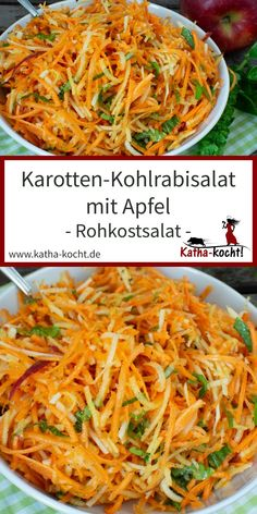 This super tasty, autumnal raw vegetable salad with carrots, kohlrabi and apple gets a great kick of freshness from fresh basil. The recipe for the quick salad can be found here on katha-kocht! Carrot and kohlrabi salad with apple - raw vegetable s Green Veggies, Raw Vegetables, Raw Food Recipes, Soup Recipes, Healthy Recipes, Apple Recipes, Pizza Recipes, Raw Vegetable Salad, Vegetable Protein