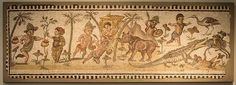 Ancient Roman Mosaic with Pigmies  From Africa Province (modern Tunisia) in the 2nd century AD.
