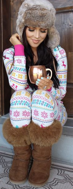 Christmas fairisle pajama oufit. Womens fashion holiday Pj's. They also come in babies, kids for the whole family.