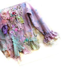Unique Art To Wear Jacket LAVENDER TWENTIES With Violet Iris  Boho Gipsy Hippie Tattered Romantic