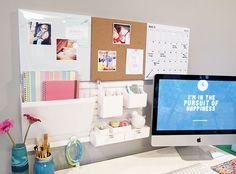 Convert closet into workable desk top space:need this above the desk!:)