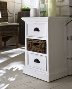 Hamptons Style White Bedside Table – Allissias Attic & Vintage French Style