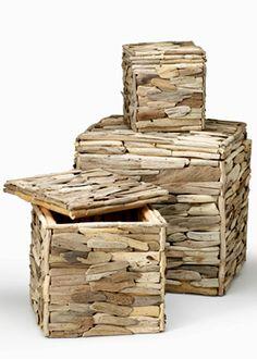 Driftwood Storage Boxes