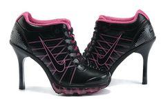 Nike Air Max High Heels Black Pink For Momen [jordan heels] Nike High Heels, High Heel Sneakers, Black Nike Shoes, Sneaker Heels, Black High Heels, High Heel Boots, Womens High Heels, Shoe Boots, Shoes Heels