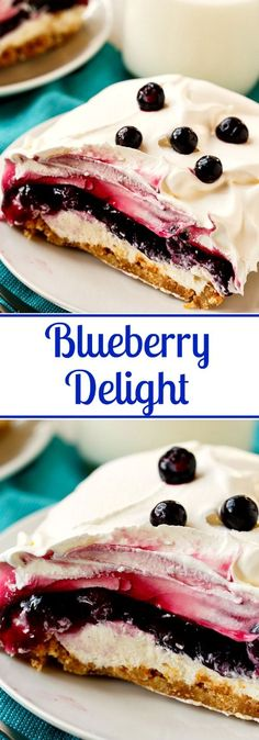 Blueberry Delight (Blueberry Yum Yum)- 4 layers in this creamy dessert!