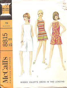 Vintage 1960s Vintage Sewing Pattern Culotte Dress McCalls 8815