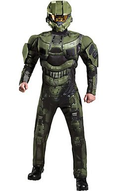 Adult Master Chief Muscle Costume Deluxe - Halo
