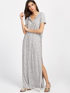 Shop Marled Knit Half Placket Hooded Slit Dress online. SheIn offers Marled Knit Half Placket Hooded Slit Dress & more to fit your fashionable needs.