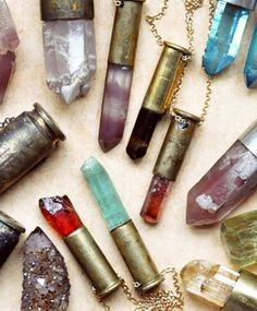 Crystal bullet lipstick necklace