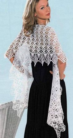 crochet charming lace scarf  shaw wrap  for ladies, crochet pattern