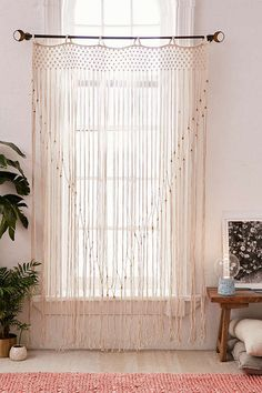 Shop Grace Macramé Window Portal at Urban Outfitters today. We carry all the latest styles, colors and brands for you to choose from right here. Shear Curtains, Curtains For Sale, Cortinas Boho, Bed With Posts, Home Decor Sale, Macrame Curtain, Curtain Patterns, Curtain Ideas, Rug Sale