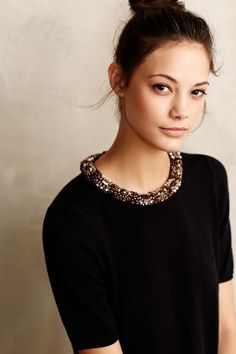 Anon Beaded Collar Pullover #anthrofave