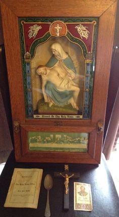 1909 antique vintage Catholic last rites sick call box chalkware home altar oak