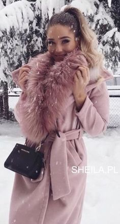 #winter #outfits pink winter coat