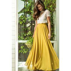 Amelia Full Yellow Maxi Skirt ❤ liked on Polyvore featuring skirts, yellow maxi skirt, long yellow skirt, long skirts, yellow skirt and floor length skirt