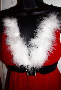 VS CATALOG Santa Baby SEXY Size Lg Red & white feather Boa flyaway Babydoll