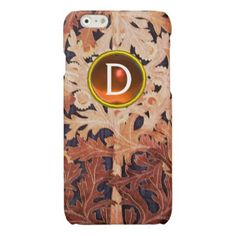 DAISY IN BROWN FLORAL WITH YELLOW GEM MONOGRAM GLOSSY iPhone 6 CASE - beautiful gift idea present diy cyo