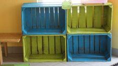 Recycleren: opbergrekje van kratten