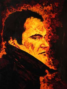 Fire Tarantino. Acrylics on canvas. 100cm X 130cm. www.portmanilustra.com.br #fire #fogo #burn #portrait #arte #painting #paint #truefire #art #portman #tarantino #cinema