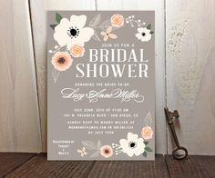 Spring Flowers Bridal Shower Printed Invitations - Bridal Brunch, Vintage Theme, Anemone and Roses, Dove Gray - White - Rose Blush Pink - Something Blue - Goldenrod Yellow - Mint Green - Lavendar -  Click link to see other colors! FREE CUSTOM COLORS & FONTS