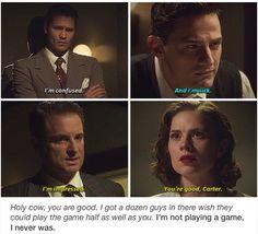 Fjuegdutkfujhejfjiwidjrtjkdjkdhdhsrjhgdfjg ............. this is such a good episode. Love Agent Carter!! Marvel.